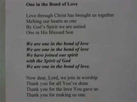 we are in love quot we are one in the bond of love quot for alison sung by