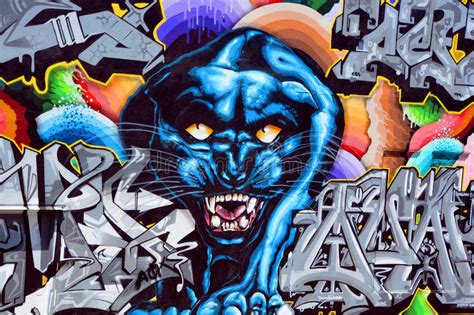 black panther mural editorial stock image image