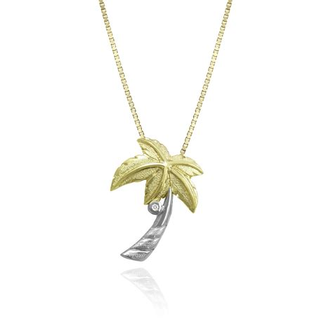 two tone gold palm tree with pendant