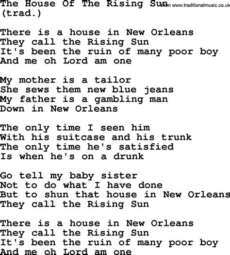 the house of the rising sun lyrics the house of the rising sun by the byrds lyrics with pdf