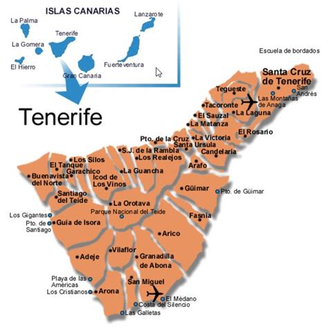 printable map tenerife tenerife map tenerife south map detailed map of