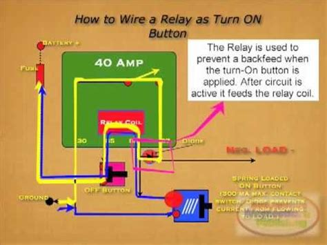 diodes on relays turn on relay button diode
