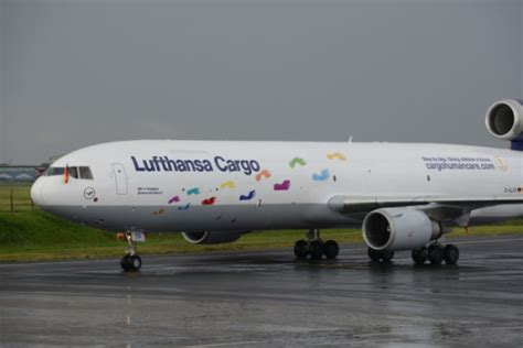 lufthansa cargo freighter livery designed in support of aid organisation