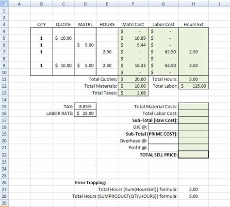 Overhead Calculation Spreadsheet by Building A Simple Estimating Template In Excel Tm Iv On