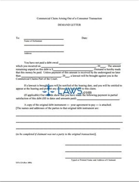 Demand Letter New York Form Ucs 124 Demand Letter New York Forms Laws