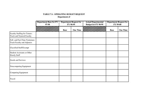 department budget template excel 6 best images of department budget request form
