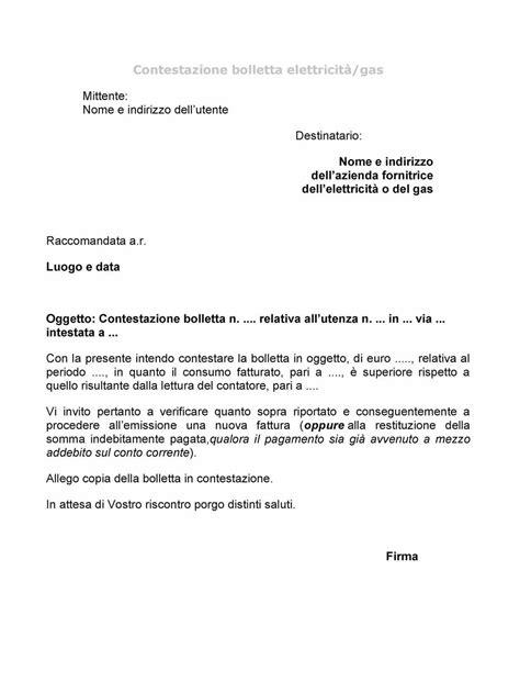lettere di contestazione disciplinare modello contestazione bolletta gas lettera43 it