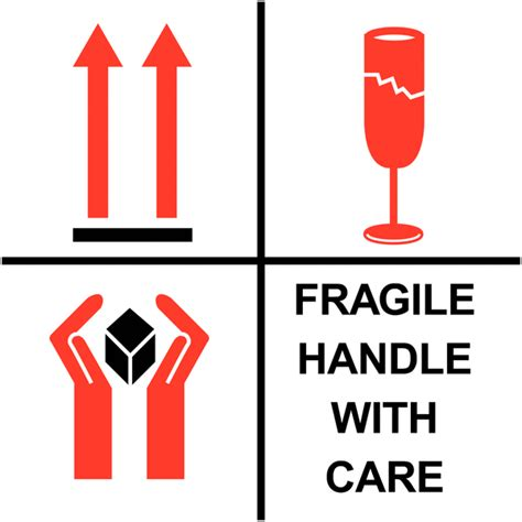shipping label fragile handle with care fragile handle with care combination shipping labels