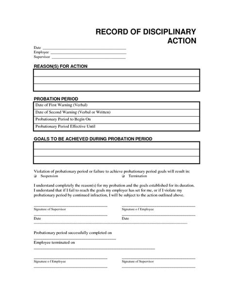 employee disciplinary write up template record disciplinary free office form template by