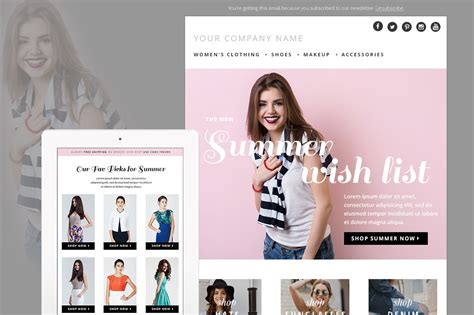 fashion newsletter templates summer fashion e mail newsletter template psd e commerce