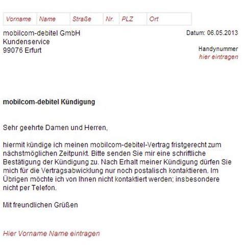 Musterbrief Kündigung Handyvertrag Vodafone Mobilcom Debitel K 252 Ndigungsschreiben Handyvertrag