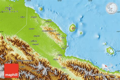 physical map of papua new guinea physical map of madang