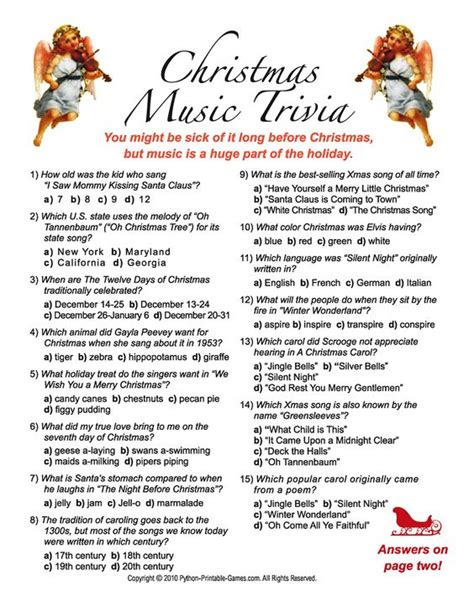 printable christmas games and quizzes christmas music trivia questions and answers game diy