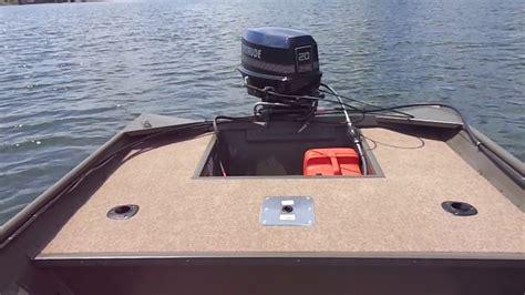boat r up stick steer jon boat set up lake test youtube