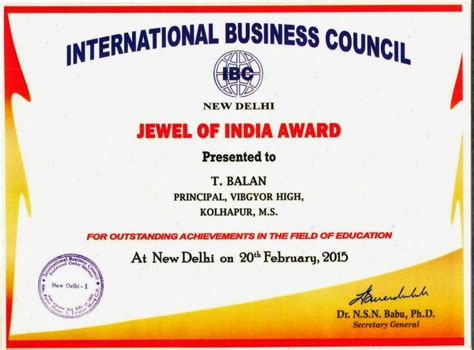 International Mba In India by International Business Council Of India Award