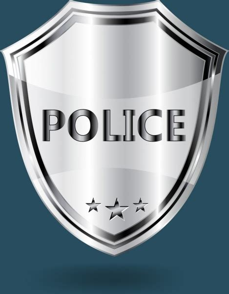Police Badge Template Shiny Grey Shield Shape Free Vector In Adobe Illustrator Ai Ai Format Badge Illustrator Template