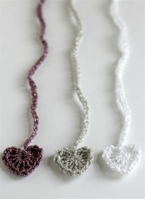 crochet pattern for heart necklace crochet heart chain stitch ribbons make and takes