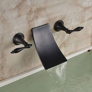 waterfall 3 holes wall mount bathtub faucet sink mixer tap oil rubbed bronze waterfall bath sink faucet wall mount 3