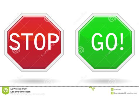 Go Go Go Stop stop go signs stock photography image 21901662