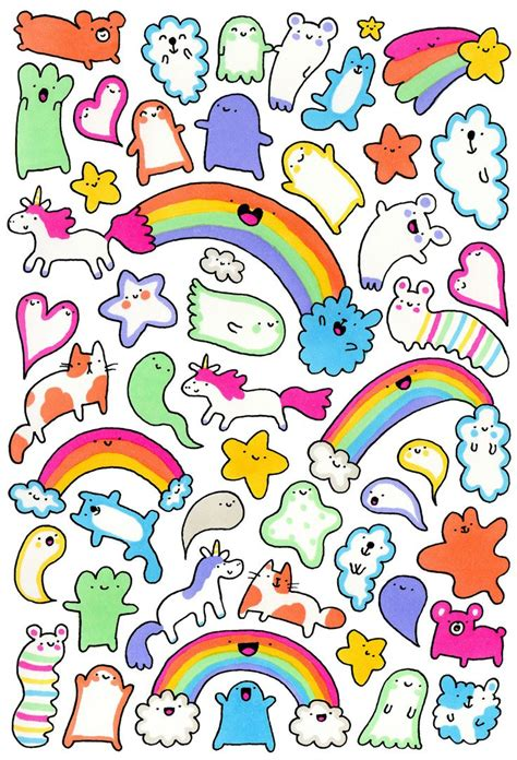 rainbow doodle drawing 343 best rainbow illustrations images on