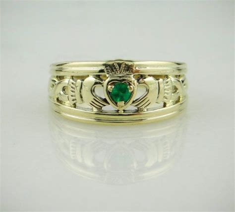 14k green gold claddagh ring vintage wedding with