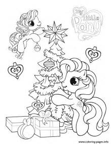 pony  christmas tree coloring pages printable