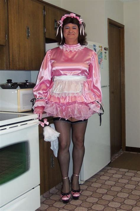 pinterest satin feminization sissy in the kitchen g793 satin maid uniform pink