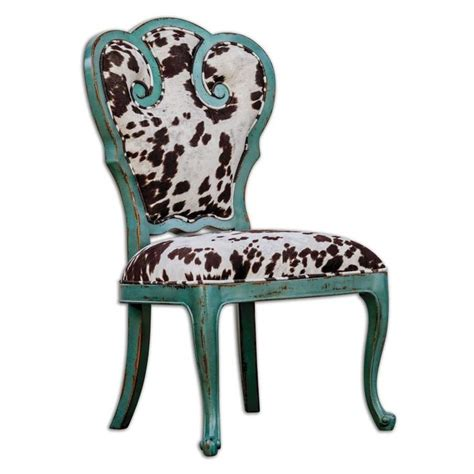 Cow Print Dining Chair by Horchow Aqua Blue Scroll Side Chair Dining Retro Cow Print