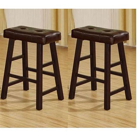 Brown Saddle Bar Stools by 24 Inch Espresso Brown Bicast Leather Counter Height