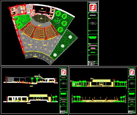 amphitheater project dwg full project  autocad