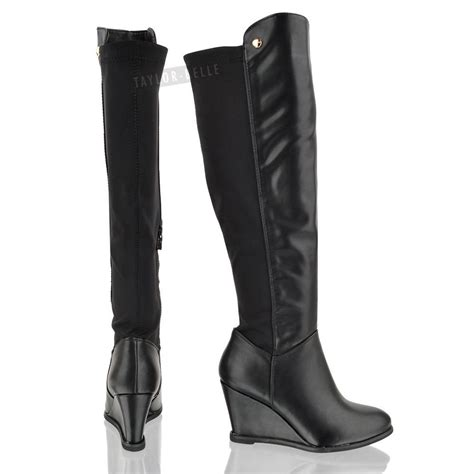 new womens knee high calf wedge heel elasticated