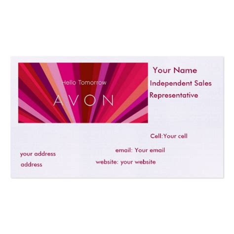 avon business card template avon sales representative sided standard business