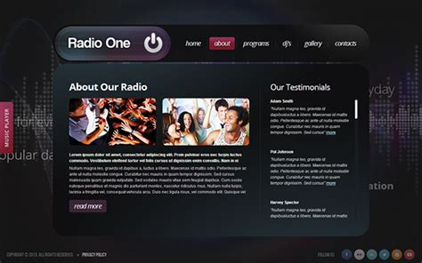 radio one radio station html5 template 300111662 on behance