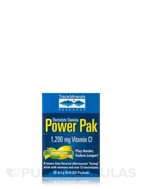 power apk electrolyte stamina power pak with 1200 mg vitamin c lemon lime flavor box of 32 packets 0