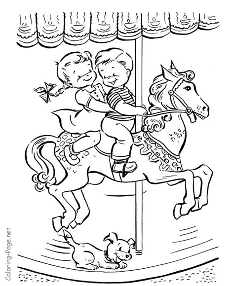 summer coloring page carousel ride summer fun