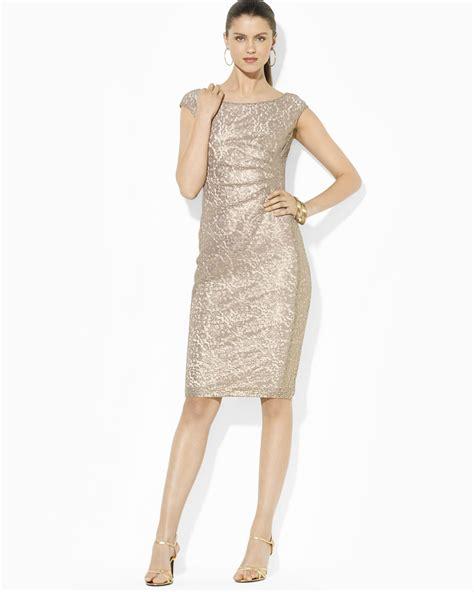 Lawren Dress lyst ralph dress cap sleeve jacquard in