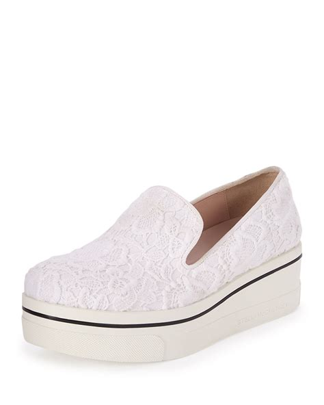 platform white sneakers stella mccartney binx lace platform sneakers in white lyst
