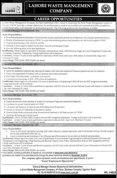 lahore waste management company job opportunities