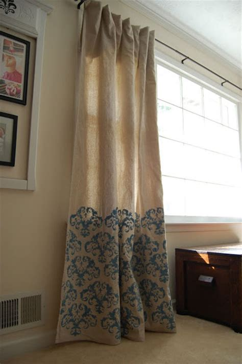 how to make drop cloth drapes stenciled drop cloth curtains diy pinterest