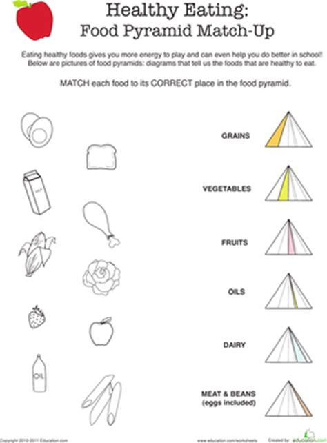 healthy eating food pyramid match up worksheet