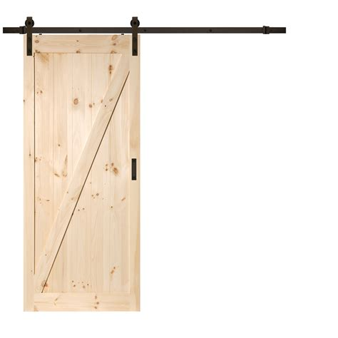 Sliding Barn Doors Lowes Shop Reliabilt Z Frame Soft Pine Sliding Barn Interior Door Common 36 In X 84 In Actual