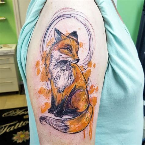 abstract fox tattoo on right half sleeve