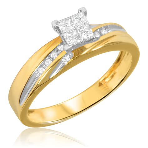 1 2 carat t w trio matching wedding ring set 14k