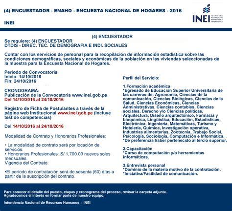 inei convocatoria 2016 huancavelica inei 1489 aplicadores proyecto censal de estudiantes 9