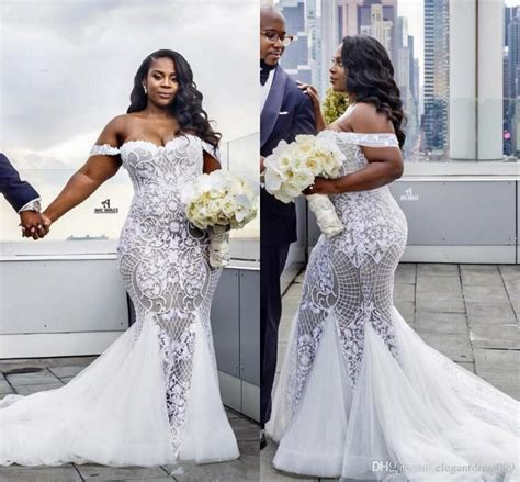 Nigerian African Plus Size 2018 Lace Mermaid Wedding