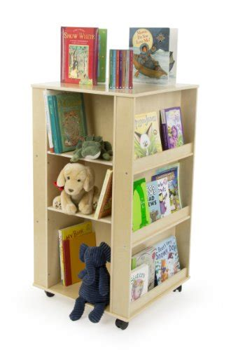 displays2go 4 sided children s bookshelf with wheels and