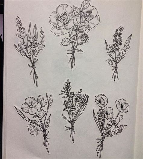 drawn wildflower flower bundle pencil and in color drawn