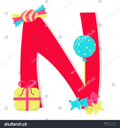 Gift With Letter N letter n stylized alphabet candies letter stock vector