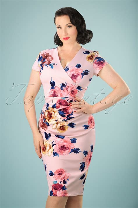 50s madeline floral pencil dress in pastel pink