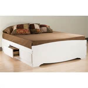 Platform Bed With Drawers White White Size Platform Storage Bed With Six Drawers By Prepac